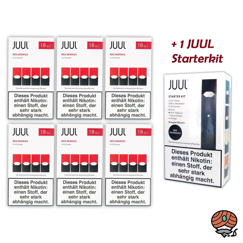 JUUL Starter-Kit + 6 x Red Berries 18mg/ml à 4 Pods
