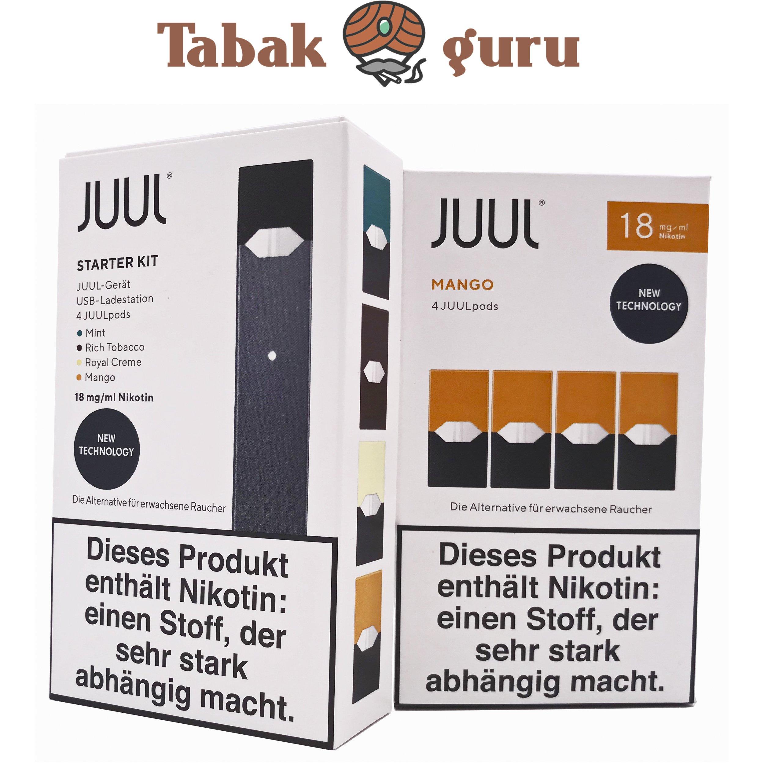 JUUL Starter-Kit mit 4 JUULpods Inkl. 4 JUULpods Mango 18mg