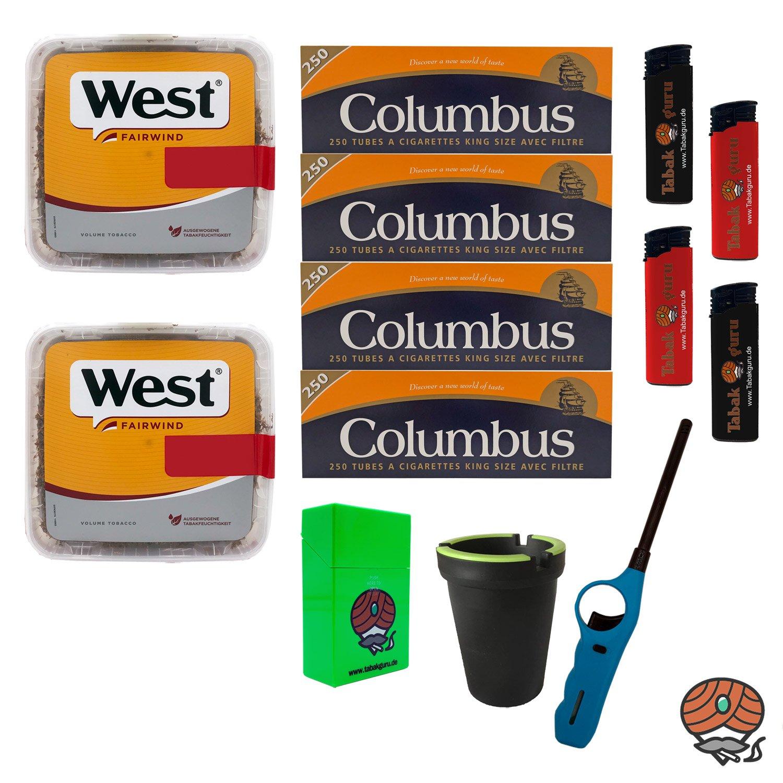 2x West Yellow Volumentabak Jumbo Box 185g + 1000 Columbus Hülsen + Zubehör