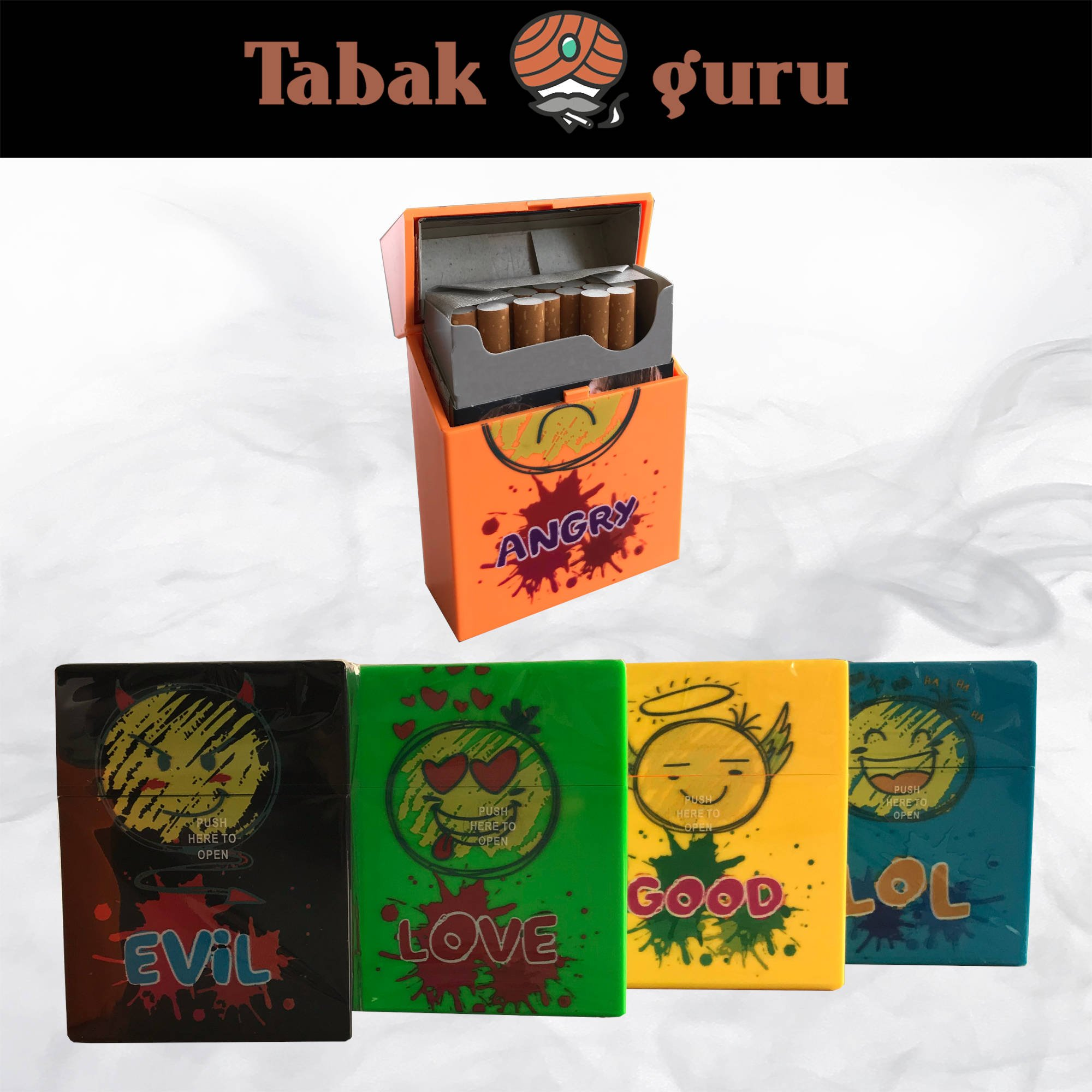 Atomic Kunststoff Zigarettenbox Motiv Emoji 24er