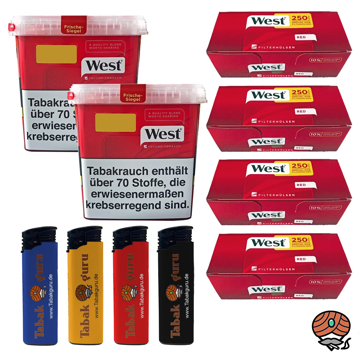 2 x West Red Tabak /Volumentabak Mega Box 280 g, 1000 West Extra Hülsen, Feuerzeuge