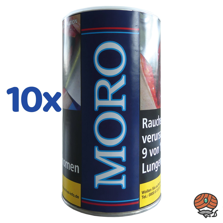 10 x Moro Blau Halfzware Shag Feinschnitt, Dreh-/ Stopftabak 200 g Dose