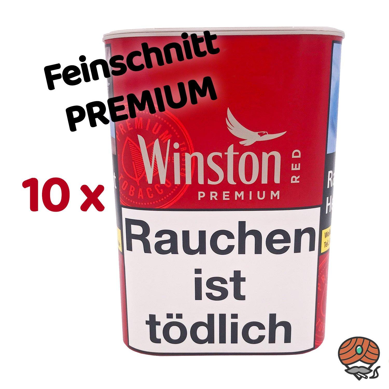 10 x Winston Premium Red Zigarettentabak 100 g Dose