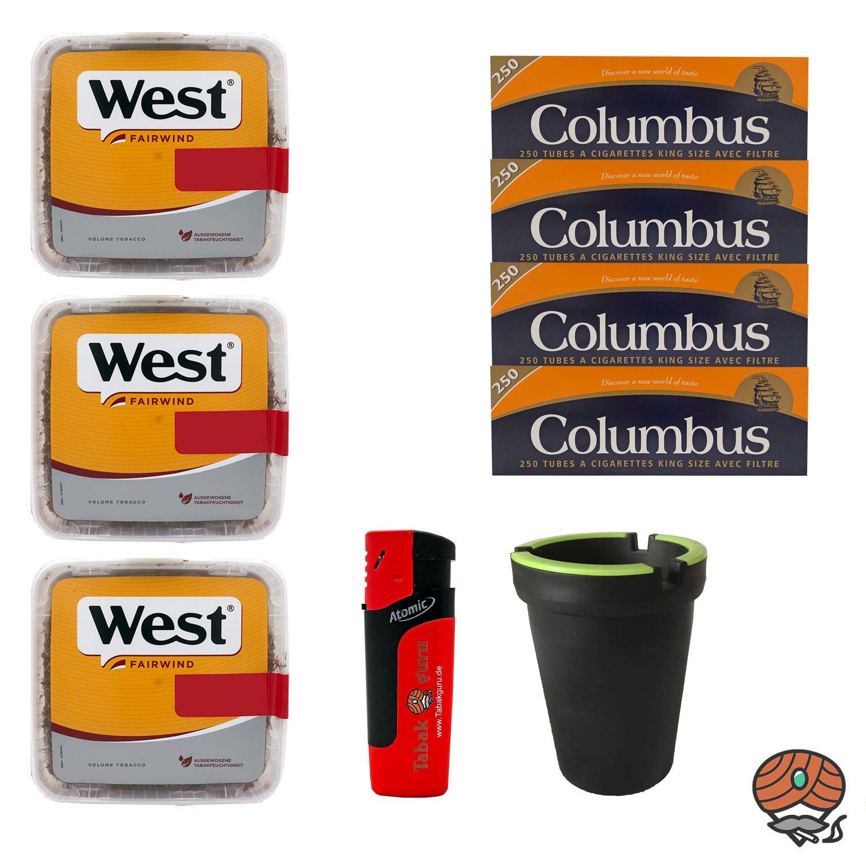 3x West Yellow Volumentabak Jumbo Box 185g + 1000 Columbus Hülsen, Sturmfeuerzeug