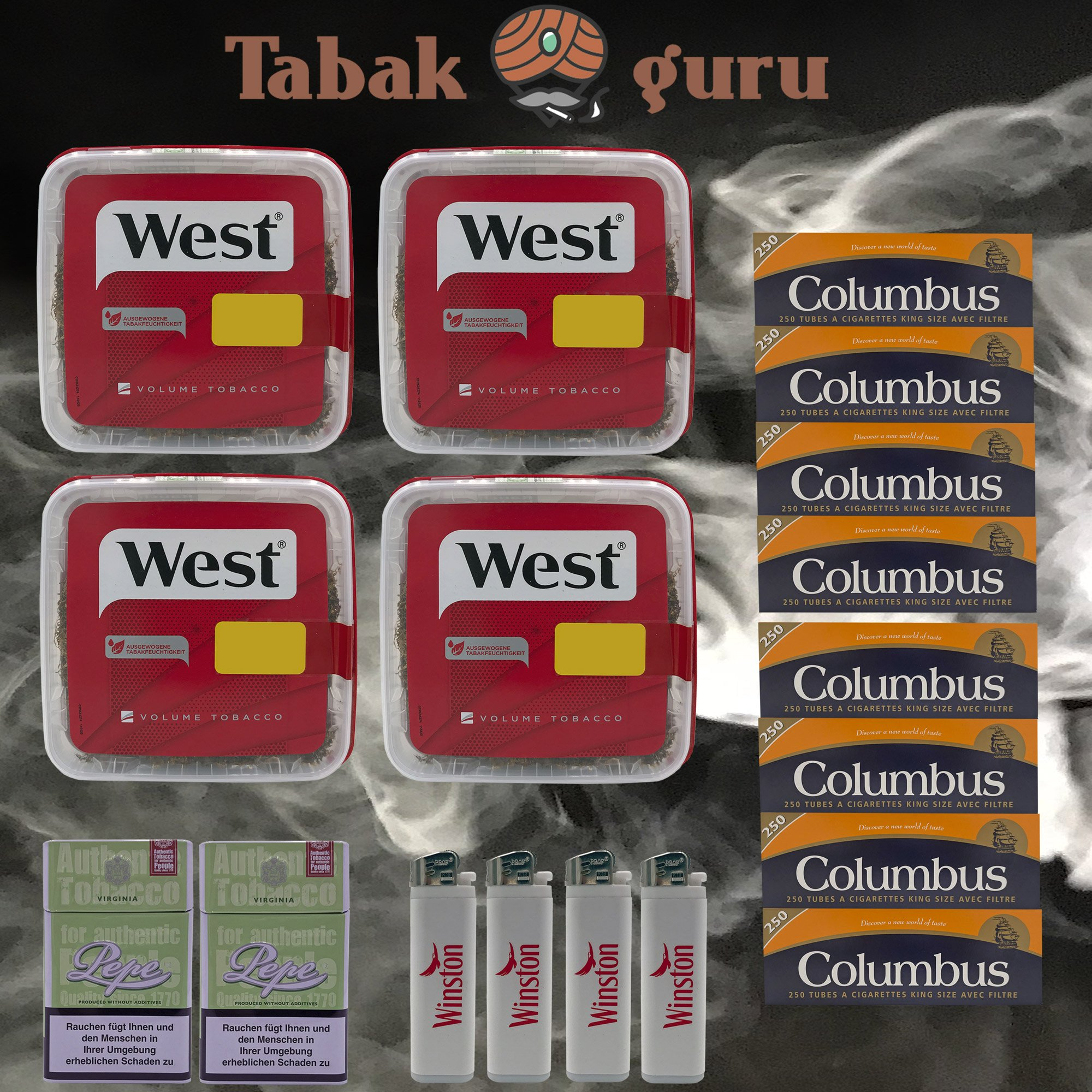 4x West Red Volumentabak Box 170g + 2000 Columbus Hülsen + Zubehör