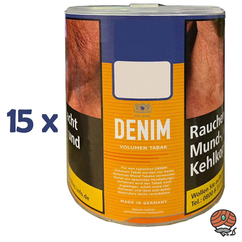 15x Denim Volumentabak / Stopftabak Dose à 65g