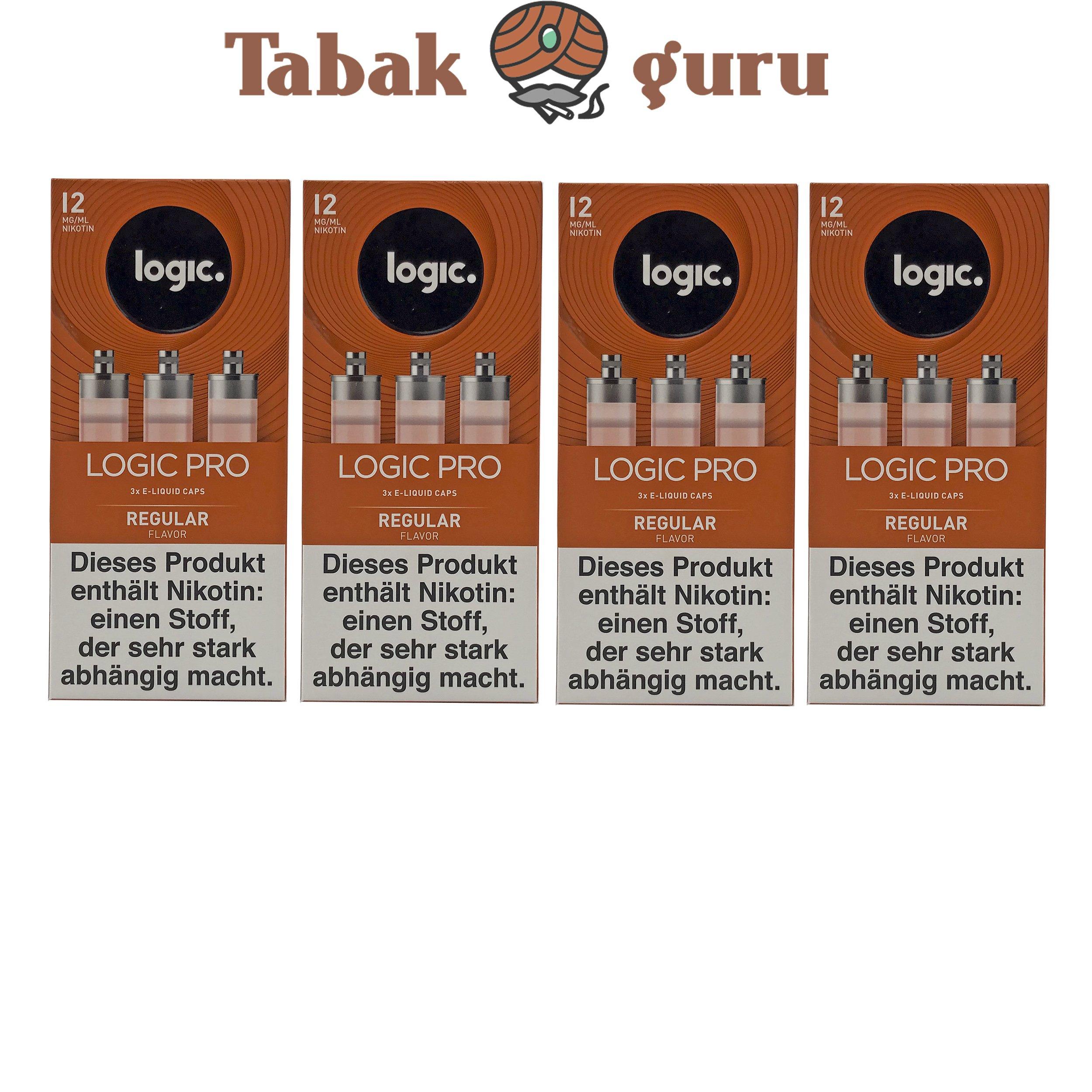 Logic Pro e-Liquid 4 Pack Caps Regular Flavor 12 mg/ml
