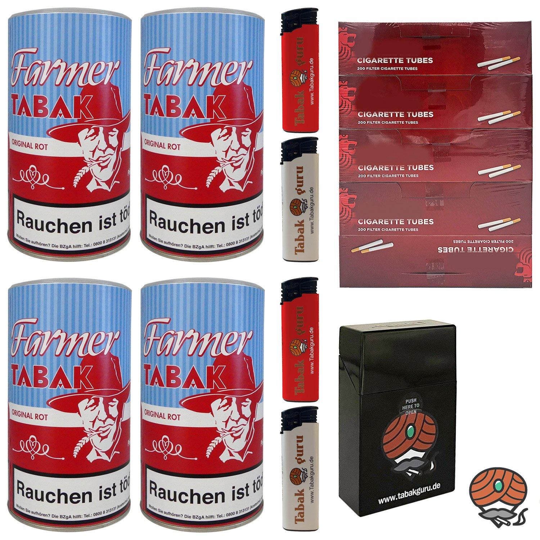 4 x Farmer Original Rot Pfeifentabak à 160g + 1.000 Hülsen + Zubehör