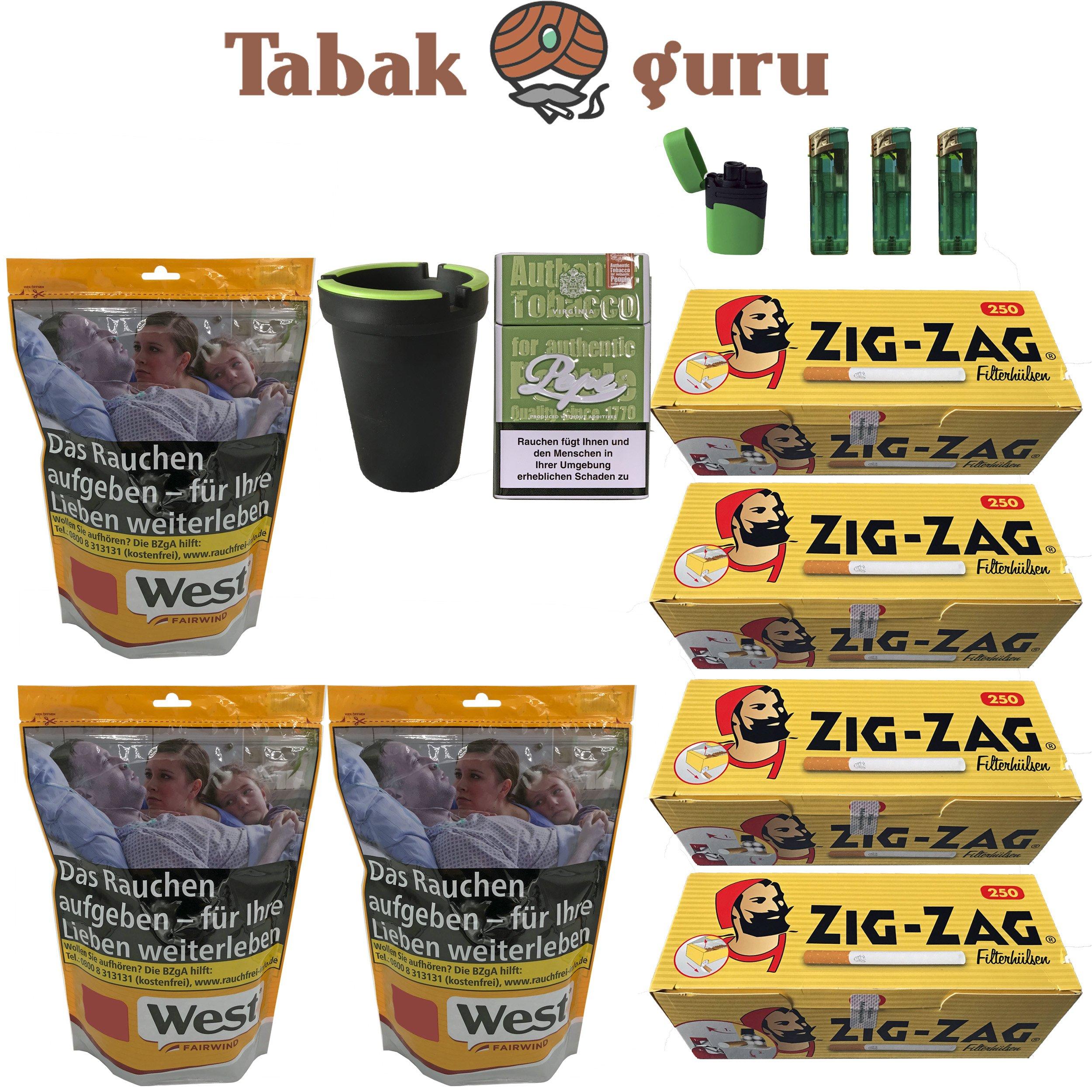 3x West Yellow 121g Tabak/Volumentabak Beutel, Zig Zag Hülsen, Feuerzeuge, Zubehör