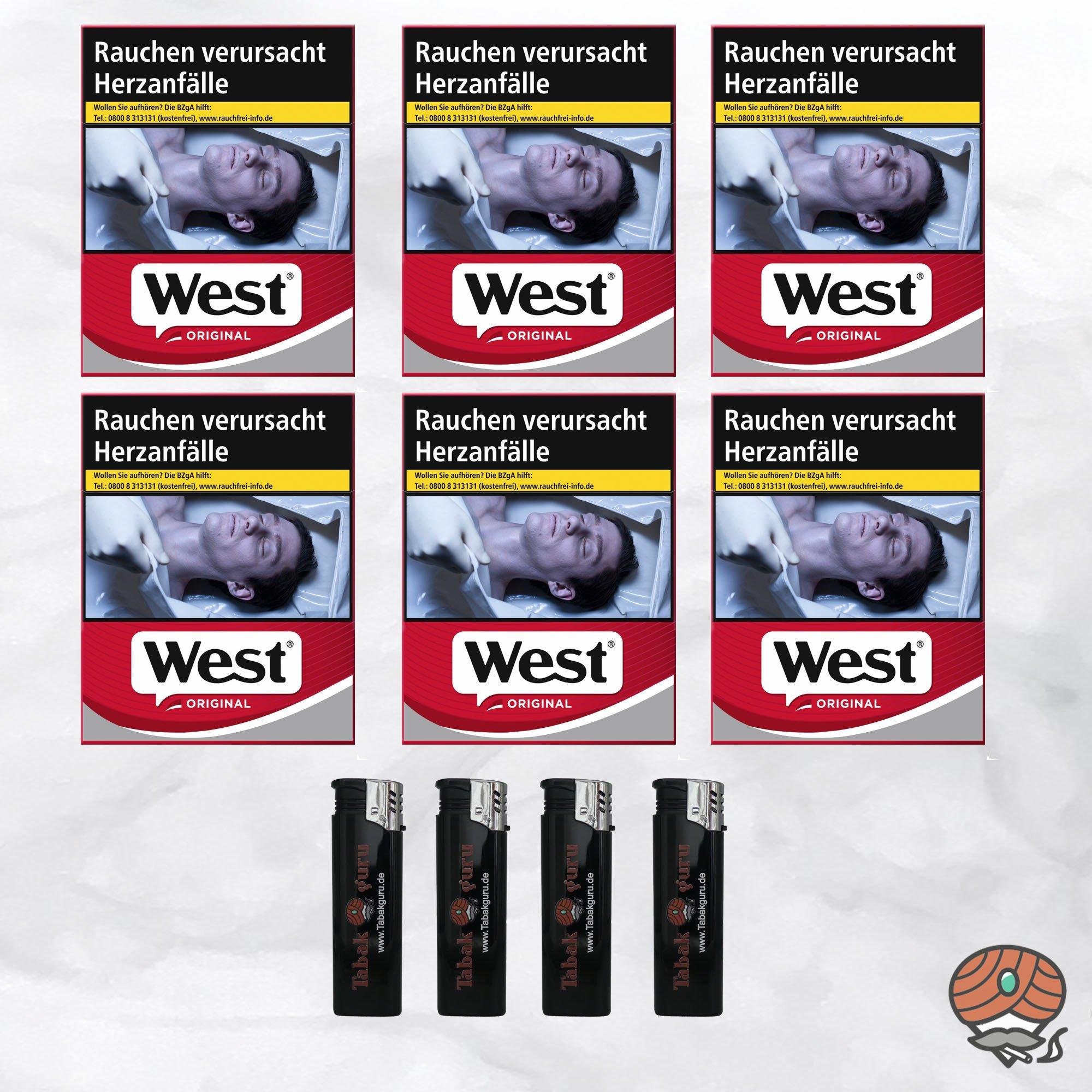 6 West Red Zigaretten à 38 Stück + 4 Feuerzeuge