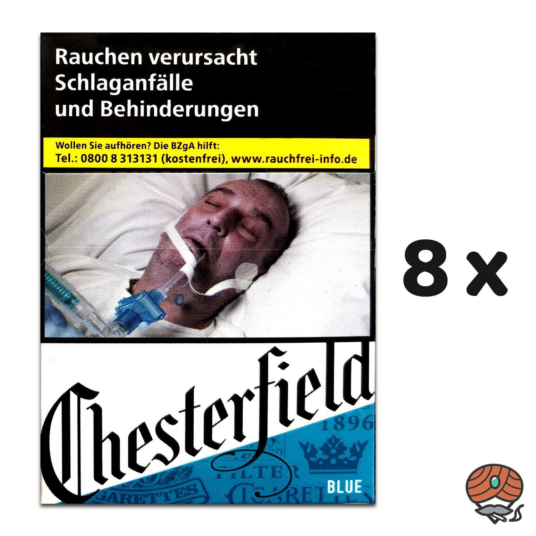 8 x Chesterfield BLUE Zigaretten XXL à 25 Stück - 1 Stange