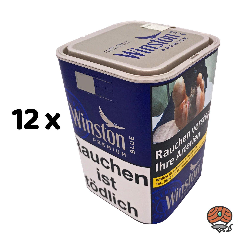 12 x Winston Premium Blue Zigarettentabak 100 g Dose