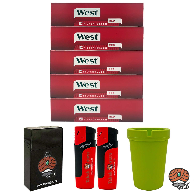 5 Pack West King Size Filterhülsen + Autoaschenbecher + Zubehörartikel
