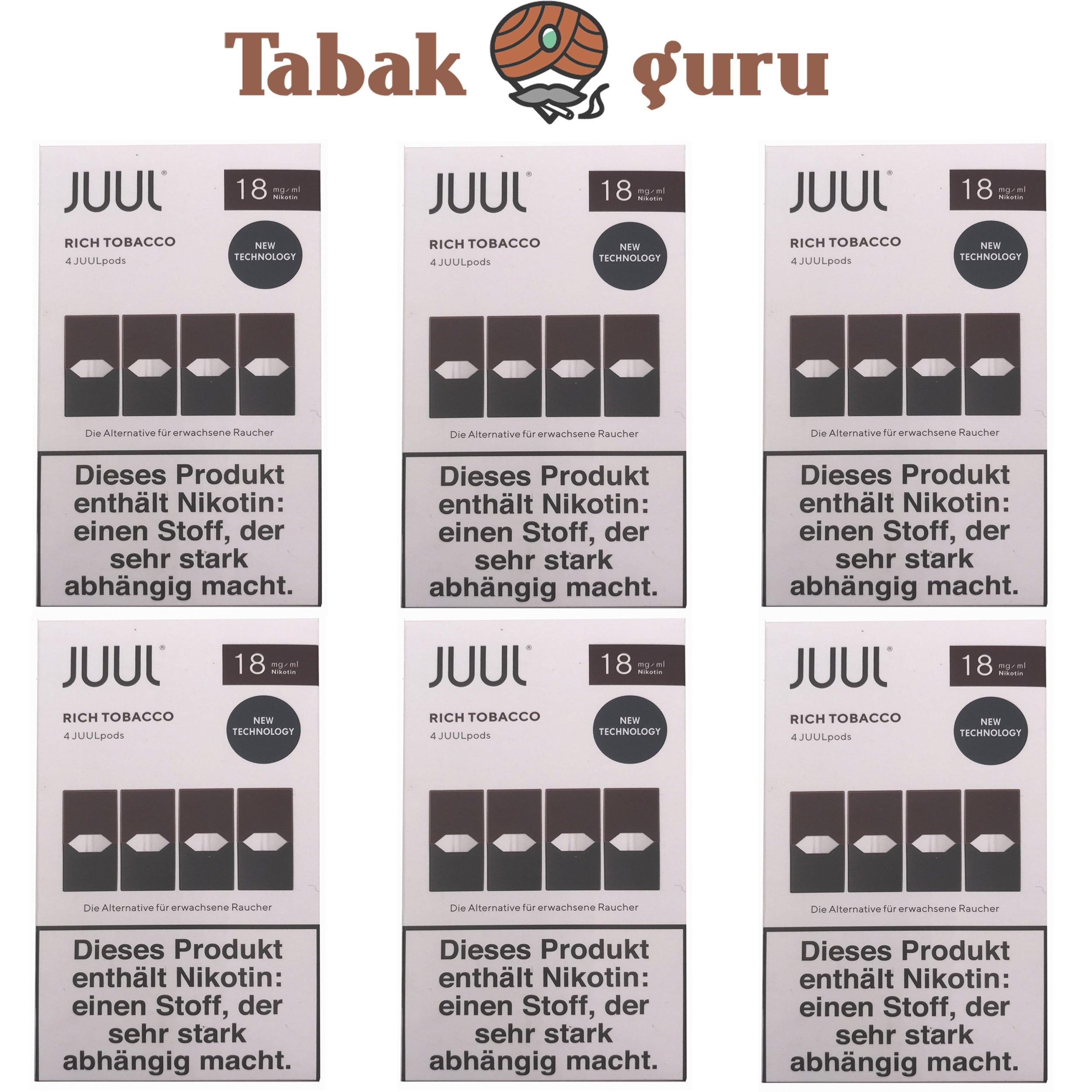 JUUL 6 Packungen Rich Tobacco Pods 18mg/ml á 4 Pods