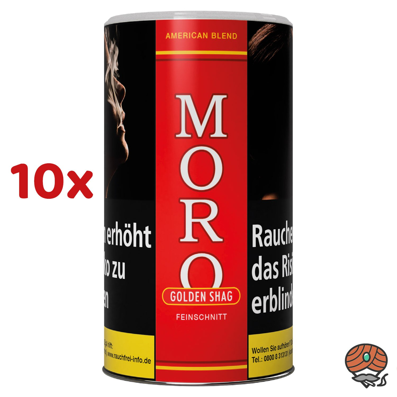 10 x Moro Rot Golden Shag Feinschnitt, Dreh-/ Stopftabak 200 g Dose