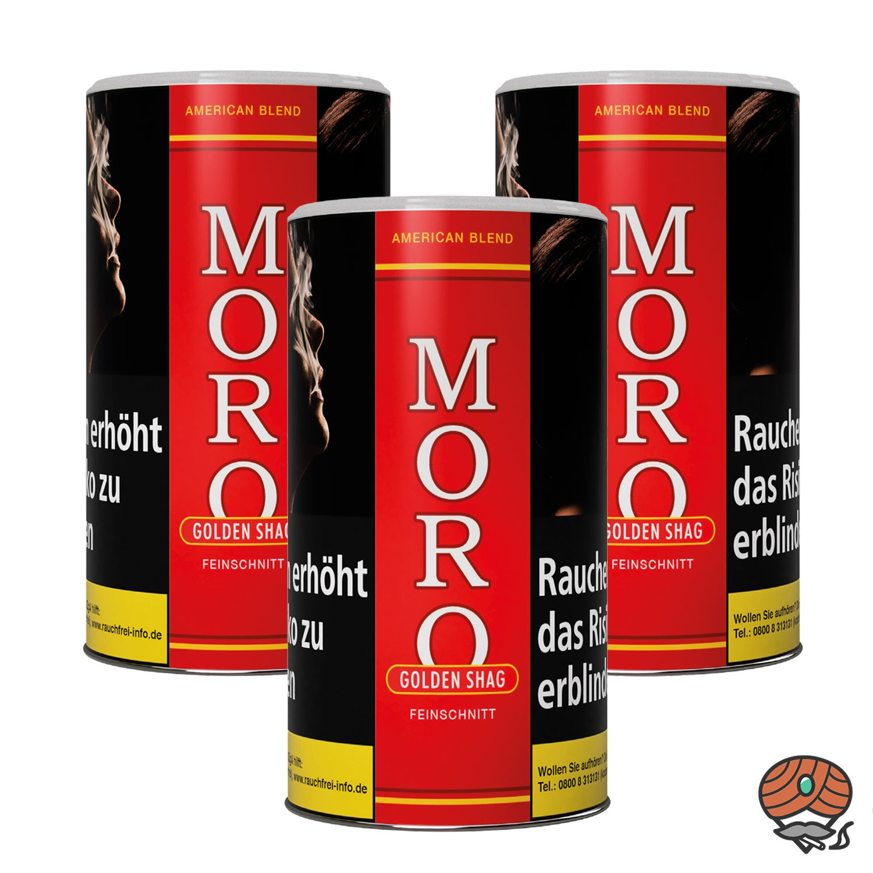 3 x Moro Rot Golden Shag Feinschnitt, Dreh-/ Stopftabak 180 g Dose